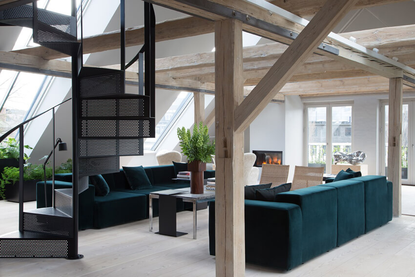 The Vipp hotel has a modern living room.