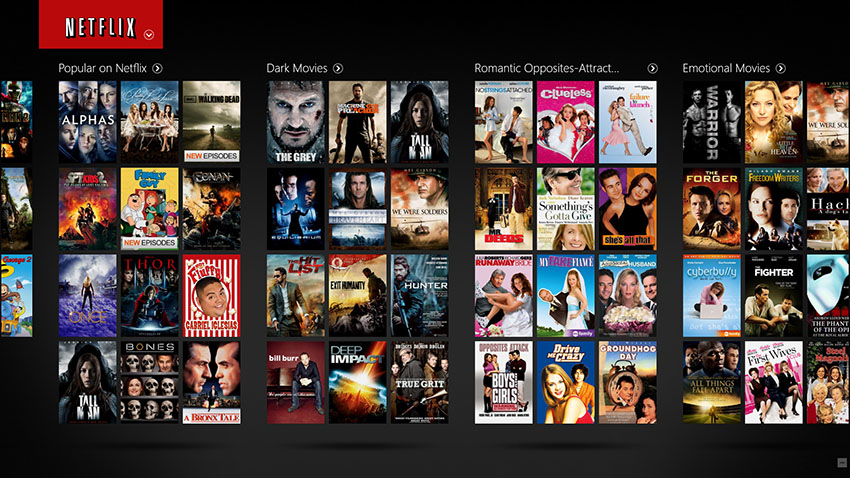 Netflix organizes your feed based on your preferences.