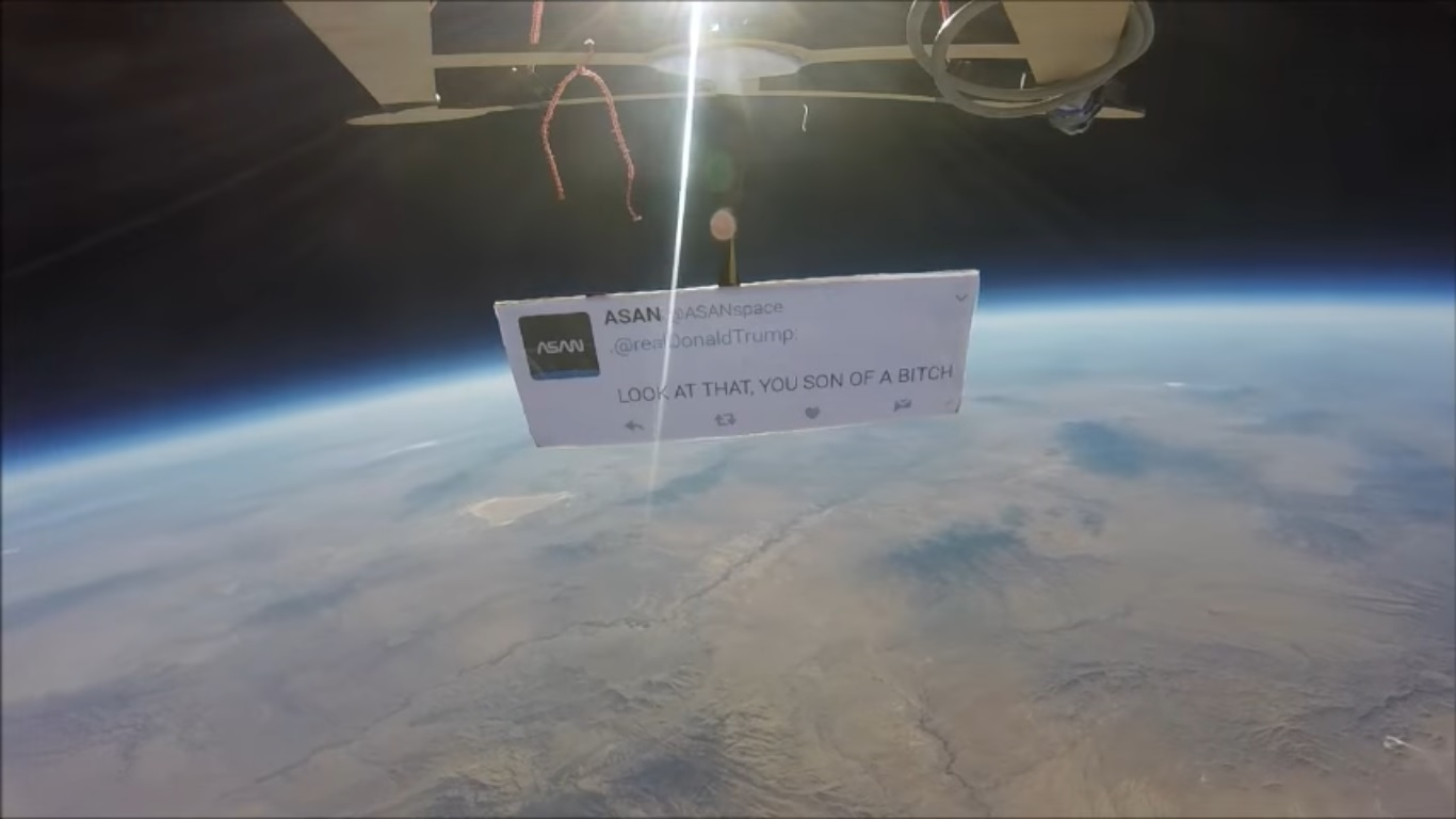 The First Protest Ever In Space Is Directed At Trump