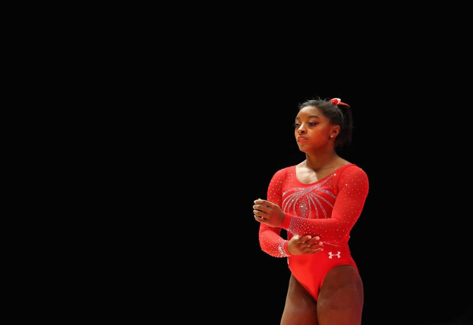 Simone Biles preparing for floor