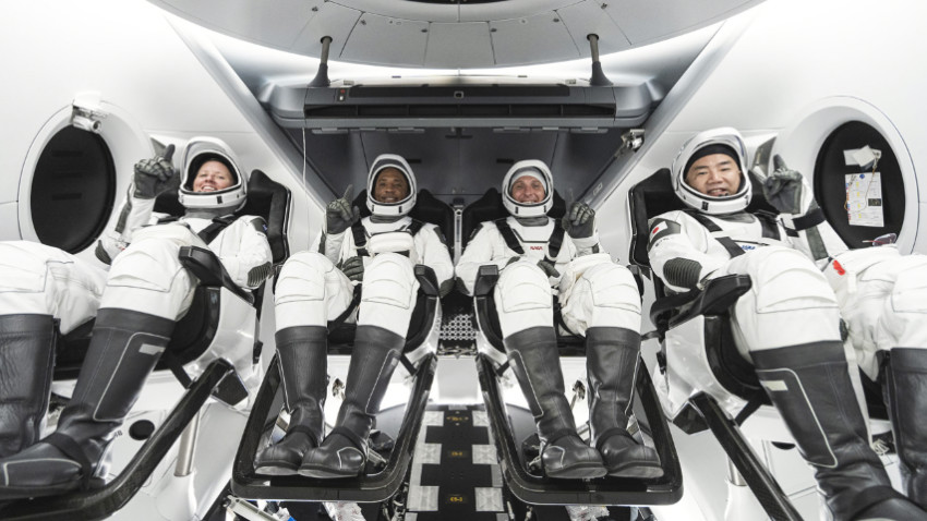 Crew-1 astronauts on a simulated launch at the Kennedy Space Centre. Source: AirLive