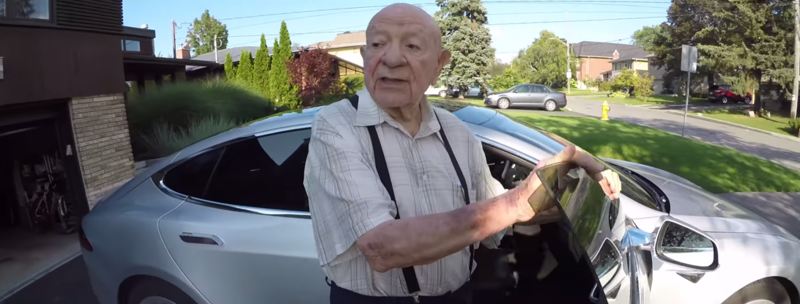 97-Year-Old Man Reacts to His Grandson's Futuristic Tesla Car
